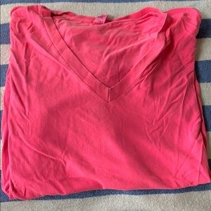 Neon pink v neck tee shirt